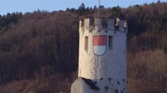 Aerial Closeup Castle ins Switzerland - stock footage