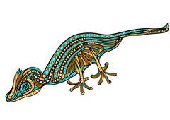leaf tailed gecko - stock illustration