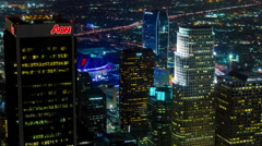 Downtown Los Angeles Staples Center LA Live Night Aerial Rooftop Timelapse Stock Footage