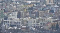 High angle view of colorful blocks of flats in Innsbruck - stock footage