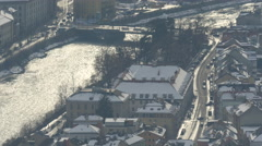 High angle view of Inn River flowing and cars driving on street, Innsbruck - stock footage