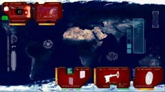 Stock Video Footage of World Map - Continents Scan  - red 02