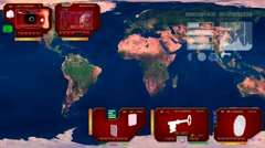 World Map - Continents Scan  - red - stock footage