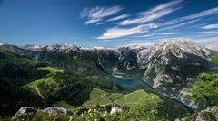 Konigssee with Berchtesgaden Mountains Time-lapse Stock Footage