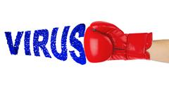 Boxing glove and word Virus Stock Photos