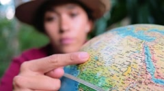 Wanderer chooses select random destination - stock footage