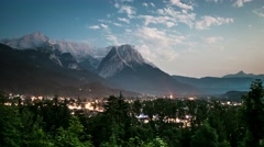 Day To Night Time-lapse in Garmisch-Partenkirchen Austria. Stock Footage