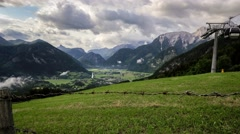 View from Haus Loderbichl on Austrian Alps adn Lofer city timelapse - stock footage