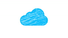 Cloud computing icon painted with chalk, hand drawn animation 4K Stock Footage