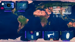 World Map - Continents Scan  - blue - stock footage