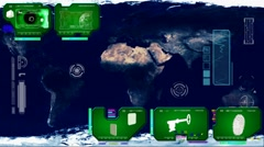 Stock Video Footage of World Map - Continents Scan  - green 02