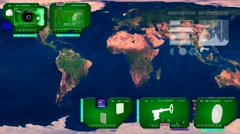 World Map - Continents Scan  - green - stock footage