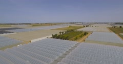 Greenhouses  of vegetables in an Aerial Shot Stock Footage