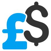 Dollar and Pound Currency Flat Vector Icon Symbol Stock Illustration