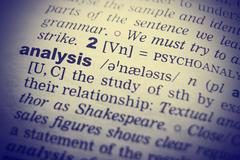 Definition of word analysis in English dictionary - stock photo