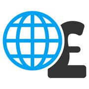 Global Pound Finances Flat Vector Icon Symbol - stock illustration