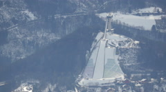 Aerial view of Bergiselschanze in Innsbruck Stock Footage