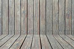 wooden wall texture with perspective design - stock photo