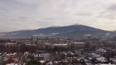 Aerial view of Innsbruck and Karwendel Alps Stock Footage