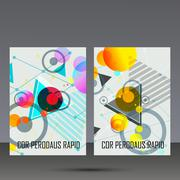 Abstract geometric image. Set in beautiful design pieces. A4 format template - stock illustration
