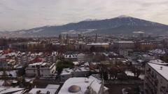 Aerial view of buildings of Innsbruck Stock Footage