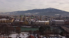 Aerial view of Inn River, Innsbruck and Karwendel Alps Stock Footage