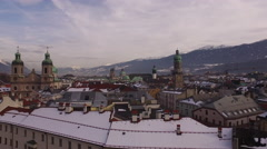 Aerial view of Saint Jacob Cathedral and old buildings in Innsbruck - stock footage