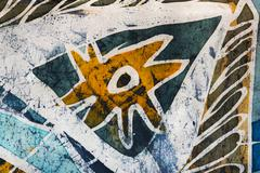 Star, hot batik, background texture, handmade on silk, abstract surrealism  - stock illustration