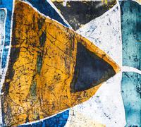 Geometry, hot batik, background texture, handmade on silk - stock illustration