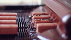 Chocolate desserts on conveyor belt at chocolate factory. Food production line - stock footage