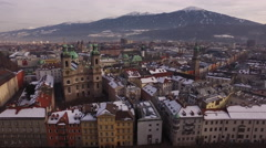 Aerial view of colorful buildings and churches in Innsbruck Stock Footage