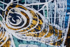 Stock Photo of Whirl, hot batik, background texture, handmade on silk, abstract surrealism