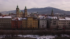 Aerial view of bell towers in Innsbruck Stock Footage