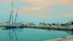Hurghada, Egypt, 12 march 2015, port marina bay with yachts Stock Footage