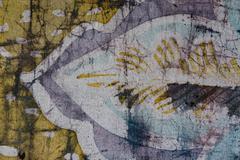 Stock Photo of Leaf, hot batik, background texture, handmade on silk, abstract surrealism