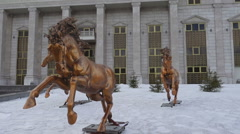 Bronze sculptures of horses Stock Footage