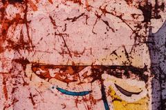 Closed eyes of man, hot batik, background texture, handmade on silk - stock illustration