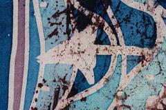 Waves and arrows, hot batik, background texture, handmade on silk - stock illustration
