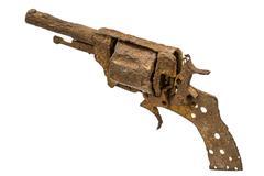 Old rusty pistol, Isolated on white background Kuvituskuvat