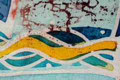 Stock Photo of Waves, hot batik, background texture, handmade on silk, abstract surrealism