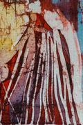 Mountain, hot batik, background texture, handmade on silk - stock illustration