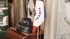 Air France vintage flag - Antique market Stock Footage
