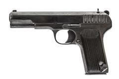 Automatic pistol, isolated on white background - stock photo