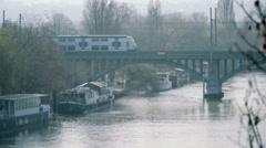 Paris outskirt - Train bridge seine Stock Footage