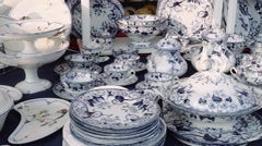Antique Fair - Blue Porcelain set Stock Footage