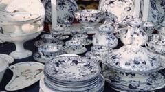 Antique Fair - Blue Porcelain set - stock footage