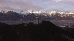 High angle view of Karwendel Alps and Bergiselschanze in Innsbruck Stock Footage