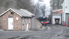 "The ""Flying Scotsman"" pulling a passenger train at Grosmont, England Stock Footage"