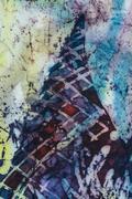 Mountain, fragment, hot batik, background texture, handmade on silk Stock Illustration