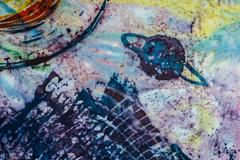 Jupiter, fragment, hot batik, background texture, handmade on silk - stock illustration